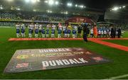 8 November 2019; A general view of the handshakes before the Unite the Union Champions Cup first leg match between Linfield and Dundalk at the National Football Stadium at Windsor Park in Belfast. Photo by Oliver McVeigh/Sportsfile
