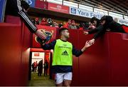 9 November 2019; Conor Murray of Munster runs out for the warm-up prior to the Guinness PRO14 Round 6 match between Munster and Ulster at Thomond Park in Limerick. Photo by Brendan Moran/Sportsfile