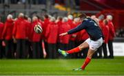 9 November 2019; JJ Hanrahan of Munster practices his place kicking prior to the Guinness PRO14 Round 6 match between Munster and Ulster at Thomond Park in Limerick. Photo by Diarmuid Greene/Sportsfile