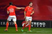 9 November 2019; JJ Hanrahan of Munster, right, is replaced by team-mate Tyler Bleyendaal due to injury during the Guinness PRO14 Round 6 match between Munster and Ulster at Thomond Park in Limerick. Photo by Brendan Moran/Sportsfile