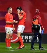 9 November 2019; JJ Hanrahan of Munster, left, is replaced by team-mate Tyler Bleyendaal due to injury during the Guinness PRO14 Round 6 match between Munster and Ulster at Thomond Park in Limerick. Photo by Brendan Moran/Sportsfile
