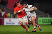 9 November 2019; Marty Moore of Ulster is tackled by CJ Stander of Munster during the Guinness PRO14 Round 6 match between Munster and Ulster at Thomond Park in Limerick. Photo by Brendan Moran/Sportsfile