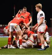 9 November 2019; Rory Scannell of Munster is congratulated by team-mates after scoring his side's second try during the Guinness PRO14 Round 6 match between Munster and Ulster at Thomond Park in Limerick. Photo by Diarmuid Greene/Sportsfile
