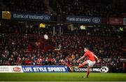 9 November 2019; JJ Hanrahan of Munster kicks a conversion during the Guinness PRO14 Round 6 match between Munster and Ulster at Thomond Park in Limerick. Photo by Diarmuid Greene/Sportsfile