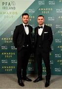 9 November 2019; Patrick Hoban, left, and Michael Duffy of Dundalk arrive prior to the PFA Ireland Awards 2019 at The Marker Hotel in Dublin. Photo by Seb Daly/Sportsfile