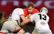 9 November 2019; Mike Haley of Munster is tackled by Sam Carter, left, and Luke Marshall of Ulster during the Guinness PRO14 Round 6 match between Munster and Ulster at Thomond Park in Limerick. Photo by Brendan Moran/Sportsfile