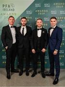 9 November 2019; Longford Town players, from left, Conor Kenna, Shane Elworthy, Dean Byrne and Anthony Breslin arrive prior to the PFA Ireland Awards 2019 at The Marker Hotel in Dublin. Photo by Seb Daly/Sportsfile