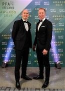 9 November 2019; PFA Ireland Chairman Gary Rogers, left, and General Secretary Stephen McGuinness arrive prior to the PFA Ireland Awards 2019 at The Marker Hotel in Dublin. Photo by Seb Daly/Sportsfile