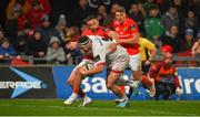 9 November 2019; Rob Herring of Ulster goes through to score his side's first try despite the efforts of Alby Mathewson of Munster during the Guinness PRO14 Round 6 match between Munster and Ulster at Thomond Park in Limerick. Photo by Diarmuid Greene/Sportsfile