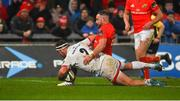 9 November 2019; Rob Herring of Ulster scores his side's first try despite the efforts of Alby Mathewson of Munster during the Guinness PRO14 Round 6 match between Munster and Ulster at Thomond Park in Limerick. Photo by Diarmuid Greene/Sportsfile