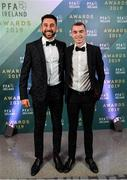 9 November 2019; Shamrock Rovers players Roberto Lopes, left, and Sean Kavanagh arrive prior to the PFA Ireland Awards 2019 at The Marker Hotel in Dublin. Photo by Seb Daly/Sportsfile