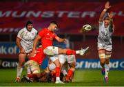 9 November 2019; Conor Murray of Munster plays a box kick under pressure from Kieran Treadwell of Ulster during the Guinness PRO14 Round 6 match between Munster and Ulster at Thomond Park in Limerick. Photo by Diarmuid Greene/Sportsfile