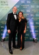 9 November 2019; PFA Ireland Chairman and Dundalk goalkeeper Gary Rogers and wife Linda arrive prior to the PFA Ireland Awards 2019 at The Marker Hotel in Dublin. Photo by Seb Daly/Sportsfile