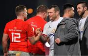 9 November 2019; Rory Scannell of Munster, left, and Jack McGrath of Ulster shake hands after the Guinness PRO14 Round 6 match between Munster and Ulster at Thomond Park in Limerick. Photo by Brendan Moran/Sportsfile