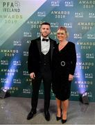 9 November 2019; Jack Byrne of Shamrock Rovers and his mother Jackie arrive prior to the PFA Ireland Awards 2019 at The Marker Hotel in Dublin. Photo by Seb Daly/Sportsfile