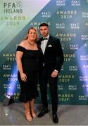 9 November 2019; Daniel Mandroiu of Bohemian FC and his mother Sarah arrive prior to the PFA Ireland Awards 2019 at The Marker Hotel in Dublin. Photo by Seb Daly/Sportsfile