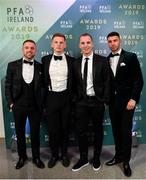 9 November 2019; Bohemian FC players, from left, Keith Ward, Andy Lyons, Derek Pender and Daniel Mandroiu arrive prior to the PFA Ireland Awards 2019 at The Marker Hotel in Dublin. Photo by Seb Daly/Sportsfile