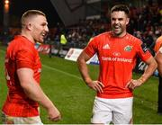 9 November 2019; Andrew Conway and Conor Murray of Munster share a laugh after the Guinness PRO14 Round 6 match between Munster and Ulster at Thomond Park in Limerick. Photo by Diarmuid Greene/Sportsfile