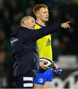 8 November 2019; Leinster kicking coach and lead performance analyst Emmet Farrell, left, in conversation with Ciarán Frawley of Leinster ahead of the Guinness PRO14 Round 6 match between Connacht and Leinster at the Sportsground in Galway. Photo by Ramsey Cardy/Sportsfile