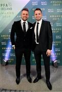 9 November 2019; Paul Skinner of Shelbourne FC and Brendan Clarke of St. Patrick's Athletic arrive prior to the PFA Ireland Awards 2019 at The Marker Hotel in Dublin. Photo by Seb Daly/Sportsfile