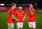 9 November 2019; Mike Haley, Andrew Conway and Conor Murray of Munster share a laugh after the Guinness PRO14 Round 6 match between Munster and Ulster at Thomond Park in Limerick. Photo by Diarmuid Greene/Sportsfile