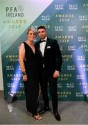 9 November 2019; Daniel Mandroiu of Bohemian FC and his Godmother Sinead Hogan arrive prior to the PFA Ireland Awards 2019 at The Marker Hotel in Dublin. Photo by Seb Daly/Sportsfile