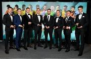 9 November 2019; PFA Ireland First Division Team of the Year, from left, Lee Steacy of Longford Town, Anthony Breslin of Longford Town, Luke Byrne of Shelbourne FC, Conor Kenna of Longford Town, Shane Elworthy of Longford Town, Dean Byrne of Longford Town, Chris Lyons of Drogheda United and Rob Manley of Cabinteely FC, during the PFA Ireland Awards 2019 at The Marker Hotel in Dublin. Photo by Seb Daly/Sportsfile
