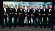 9 November 2019; PFA Ireland Premier Division Team of the Year, from left, Alan Mannus of Shamrock Rovers, Sean Gannon of Dundalk, Sean Hoare of Dundalk, Lee Grace of Shamrock Rovers, Sean Kavanagh of Shamrock Rovers, Daniel Mandroiu of Bohemian FC, Jack Byrne of Shamrock Rovers, Michael Duffy of Dundalk, Pat Hoban of Dundalk and David Parkhouse of Derry City, during the PFA Ireland Awards 2019 at The Marker Hotel in Dublin. Photo by Seb Daly/Sportsfile