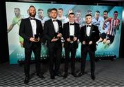 9 November 2019; Shamrock Rovers PFA Ireland Premier Division Team of the Year players, from left, Alan Mannus, Lee Grace, Sean Kavanagh and Jack Byrne during the PFA Ireland Awards 2019 at The Marker Hotel in Dublin. Photo by Seb Daly/Sportsfile