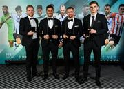 9 November 2019; Dundalk PFA Ireland Premier Division Team of the Year players, from left, Sean Hoare, Pat Hoban, Michael Duffy and Sean Gannon, during the PFA Ireland Awards 2019 at The Marker Hotel in Dublin. Photo by Seb Daly/Sportsfile