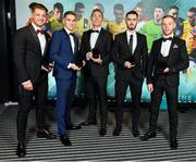 9 November 2019; Longford Town PFA Ireland First Division Team of the Year players, from left, Lee Steacy, Anthony Breslin, Conor Kenna, Shane Elworthy and Dean Byrne during the PFA Ireland Awards 2019 at The Marker Hotel in Dublin. Photo by Seb Daly/Sportsfile