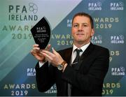 9 November 2019; PFA Ireland Premier Division Manager of the Year Vinny Perth of Dundalk FC is pictured with his award during the PFA Ireland Awards 2019 at The Marker Hotel in Dublin. Photo by Seb Daly/Sportsfile