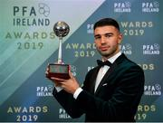 9 November 2019; PFA Ireland Young Player of the Year Daniel Mandroiu of Bohemian FC is pictured with his award during the PFA Ireland Awards 2019 at The Marker Hotel in Dublin. Photo by Seb Daly/Sportsfile