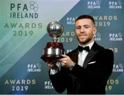 9 November 2019; PFA Ireland Player of the Year Jack Byrne of Shamrock Rovers is pictured with his award during the PFA Ireland Awards 2019 at The Marker Hotel in Dublin. Photo by Seb Daly/Sportsfile