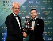 9 November 2019; PFA Ireland Player of the Year Jack Byrne of Shamrock Rovers is presented with his award by Republic of Ireland manager Mick McCarthy during the PFA Ireland Awards 2019 at The Marker Hotel in Dublin. Photo by Seb Daly/Sportsfile