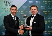 9 November 2019; PFA Ireland Irish Overseas Player of the Year Enda Stevens of Sheffield United is presented with his award by Ritchie Humphreys, Delegate Liaison Executive, PFAI, during the PFA Ireland Awards 2019 at The Marker Hotel in Dublin. Photo by Seb Daly/Sportsfile