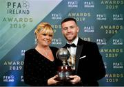 9 November 2019; PFA Ireland Player of the Year Jack Byrne of Shamrock Rovers and mother Jackie during the PFA Ireland Awards 2019 at The Marker Hotel in Dublin. Photo by Seb Daly/Sportsfile