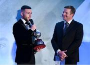 9 November 2019; PFA Ireland Player of the Year Jack Byrne of Shamrock Rovers is interview by MC Darragh Maloney during the PFA Ireland Awards 2019 at The Marker Hotel in Dublin. Photo by Seb Daly/Sportsfile Photo by Seb Daly/Sportsfile