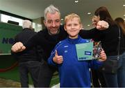 10 November 2019; Former Republic of Ireland International football player Stephen Hunt with Matthew Reszka age 9 from Newbridge Co Kildare in attendance at the launch of the Sports Extra Pass on NOW TV in Dundrum Town Centre on Saturday. The Sports Extra Pass means sports fans can now watch all the action on BT Sport and Premier Sports, including UEFA Champions League, Champions Cup Rugby and Premier League 3pm kick offs, all without a contract. For more information go to www.nowtv.com/ie. Photo by Matt Browne/Sportsfile