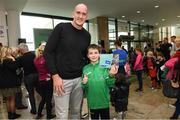 10 November 2019; Ireland and Leinster rugby legend Devin Toner with Sean Griffin age 10 from Greystones Co Wicklow in attendance at the launch of the Sports Extra Pass on NOW TV in Dundrum Town Centre on Saturday. The Sports Extra Pass means sports fans can now watch all the action on BT Sport and Premier Sports, including UEFA Champions League, Champions Cup Rugby and Premier League 3pm kick offs, all without a contract. For more information go to www.nowtv.com/ie. Photo by Matt Browne/Sportsfile