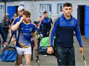 10 November 2019; Aaron Gillane of Patrickswell, right, arrives alongside team-mate prior to the AIB Munster GAA Hurling Senior Club Championship Semi-Final match between Patrickswell and Ballygunner at Walsh Park in Waterford. Photo by Seb Daly/Sportsfile