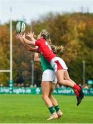 10 November 2019; Paige Randall of Wales in action against Eimear Considine of Ireland during the Women's Rugby International match between Ireland and Wales at the UCD Bowl in Dublin. Photo by David Fitzgerald/Sportsfile