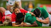 10 November 2019; Linda Djougang of Ireland goes over to score her side's first try during the Women's Rugby International match between Ireland and Wales at the UCD Bowl in Dublin. Photo by David Fitzgerald/Sportsfile