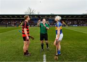 10 November 2019; Referee Nathan Wall with captains Philip Mahony of Ballygunner and Cian Lynch of Patrickswell during the coin toss prior to the AIB Munster GAA Hurling Senior Club Championship Semi-Final match between Patrickswell and Ballygunner at Walsh Park in Waterford. Photo by Seb Daly/Sportsfile