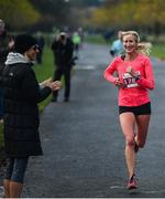 10 November 2019; Catherina McKiernan runs up the home straight during the Remembrance Run 5k at Phoenix Park in Dublin. Photo by David Fitzgerald/Sportsfile