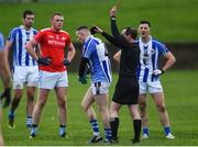 10 November 2019; Referee David Coldrick issues a red card to Cathal Flaherty of Ballyboden St Enda's after a first-half incident during the AIB Leinster GAA Football Senior Club Championship Quarter-Final match between Newtown Blues and Ballyboden St Enda's at the Gaelic Grounds in Drogheda, Co Louth. Photo by Oliver McVeigh/Sportsfile