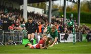 10 November 2019; Kathryn Dane of Ireland is tackled by Paige Randall of Wales during the Women's Rugby International match between Ireland and Wales at the UCD Bowl in Dublin. Photo by David Fitzgerald/Sportsfile