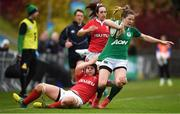 10 November 2019; Lauren Delany of Ireland is tackled by Bethan Lewis of Wales during the Women's Rugby International match between Ireland and Wales at the UCD Bowl in Dublin. Photo by David Fitzgerald/Sportsfile