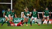 10 November 2019; Eimear Considine of Ireland is tackled by Bethan Lewis of Wales during the Women's Rugby International match between Ireland and Wales at the UCD Bowl in Dublin. Photo by David Fitzgerald/Sportsfile