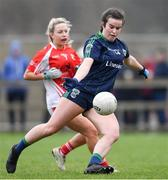 10 November 2019; Katie McNally of Foxrock - Cabinteely in action against Hannah Noone of Kilkerrin - Clonberne during the All-Ireland Ladies Football Senior Club Championship Semi-Final match between Kilkerrin - Clonberne and Foxrock - Cabinteely at the Connacht GAA Centre of Excellence in Claremorris, Co Mayo. Photo by Piaras Ó Mídheach/Sportsfile